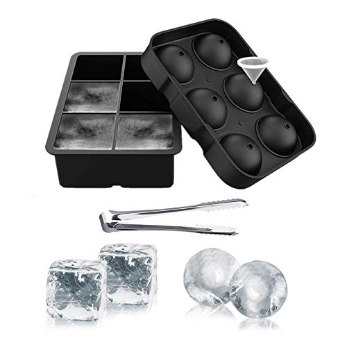 Ouddy 2 Pcs Ice Cube Tray, Square Ice Cube Mold & Sphere Ice Ball Maker Mold for Whiskey Freezer with A Funnel & Clip for Cocktails, Reusable Silicone Ice Trays