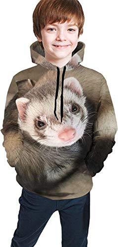 HNJZ-GS Spezielles süßes Frettchen Pullover Hoodie Hooded Sweatshirt für Teen Girls Boys, lässige Tunika Top Bluse