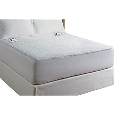 Perfect Fit Serta Sherpa Mattress Pad 110 Volt-with 2017 Programmable Digital Controller Electric, Queen, White