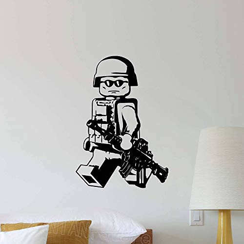 wopiaol Soldaat wandtattoo kinderen baby man cadeau vinyl sticker wallpaper Little Man Cave jongens kamer decoratie wallpaper