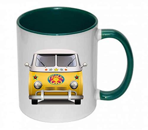 Drucklebnis24 - Taza de cafe (330 ml, ceramica), diseno vintage de Van Peace, ceramica, 04 verde., talla unica