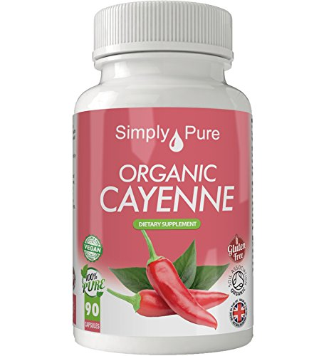 Simply Pure Organic Cayenne Capsules x 90, 500mg, 100% Natural Soil Association Certified, Gluten Free, GM Free and Vegan.