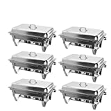 Hiram Chafing Dishes 6 Pack 9L/8 Quart, Stainless Steel Rectangular Chafer Full Size Pans, Chafing Dish Buffet Set for Catering Buffet Warmer with Folding Frame (6 Pack)