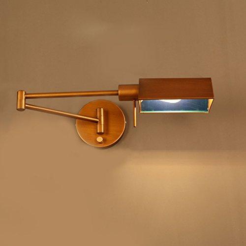 gkj Retro pared de proyección, Loft Hierro plegable pared American Style Long Arm Rocker Dormitorio Noche Mesa Lámpara de pared industrial Winds Estudio lámpara de pared Single Head E14, 40* 12CM