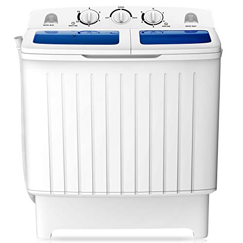 COSTWAY Compact Twin Tub Washing Machine, 17.6 lbs Mini Washing Machine with Washing and Spinning, Portable Washer for Camping, Apartments, and Dorms, Blue