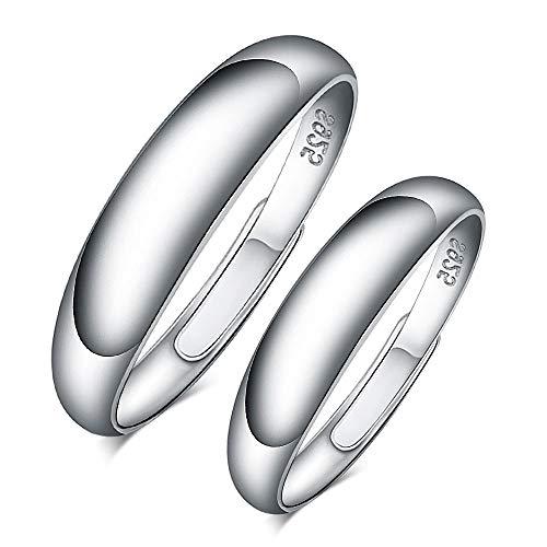 CPSLOVE Anillo de plata de ley 925 para pareja, anillo simple para hombre y mujer, tamaño ajustable, el mejor regalo para el día de San Valentín y Navidad