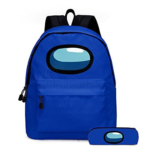 ZBK Game Among US Theme Colorful School Bag Set,Mochila para portátil con estuche para lápices, para estudiantes, niños, niñas, 5 colores, azul marino (Azul) - ZBK508