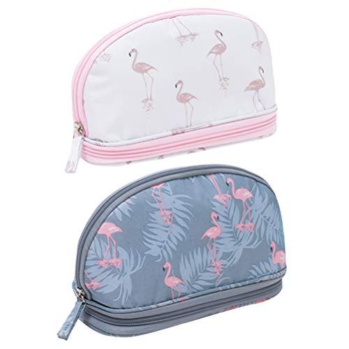 None 2 stuks toilettas, reizen, flamingo, bedrukt, cosmeticatas, organizer voor meisjes, dames (wit + grijs)