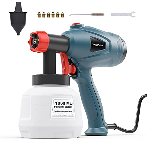 Xoopon Paint Sprayer, High Power HVLP Spray Gun with 6 Copper Nozzles and 3 Spray Patterns, Easy to Clean and Control the Flow, Ideal for Furniture, Wall, Fence-Green