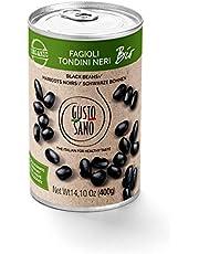 GUSTO SANO FRIJOLES NEGROS ORGANICOS hervidos. Legumbres en conserva, frijoles negro 6 pack de 400 Gr: 2,4 Kg. Hervida, rehidratada, enlatada y estabilizada. No OGM, BIO. 100% Made in Italy