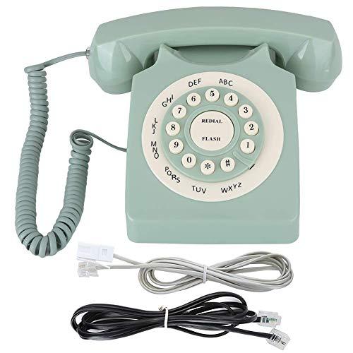 Ladieshow Retro Vintag Teléfono Fijo Verde Alta definición Sonido de Llamada Botón Grande Teléfono Europeo Antiguo