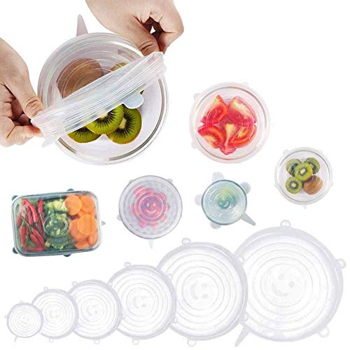 Asier Silicone Stretch Lids - Fits Various Sizes and Container Shapes - Expandable, Reusable, Durable, Non-Stick Storage Covers for Keeping Food Fresh (6pc Set)