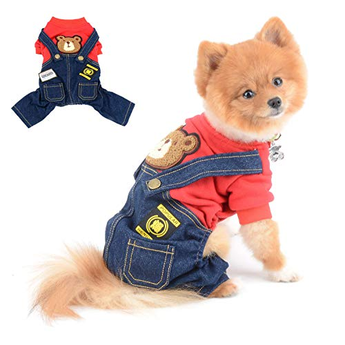 SELMAI Dog Outfits for Small Dogs Boy Girl Spring Shirts Denim Bib Pants 2 Pockets Jumpsuits One Piece Apparel for Cats Puppies Chihuahua Clothes Adorable Overall for Medium Pet 4 Legs Autumn Red M