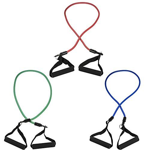 GORILLA SPORTS® Fitnessbänder Set 117 cm verstellbar – Expander mit 3 Tubes in verschiedenen Stärken
