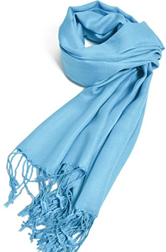 Premium Large Soft Silky Pashmina Shawl Wrap Scarf in Solid Colors (Turquoise)