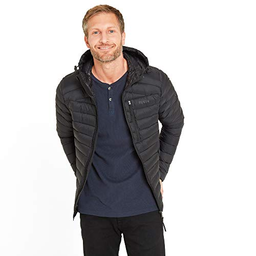 TOG24 Base Mens Packable Hooded Down Jacket Lightweight Ultra Warm 800 Fill Power 90 Duck Down and 10 Feathers Soft Comfortable Casual Padded Stylish Coat Perfect for Travel Camping Day Hikes