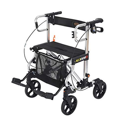 4 Räder Aluminium Rollator, Leichter Transportstuhl Mit Sperrenden Handbremsen, Abnehmbare Rückenstütze Und Fußstütze