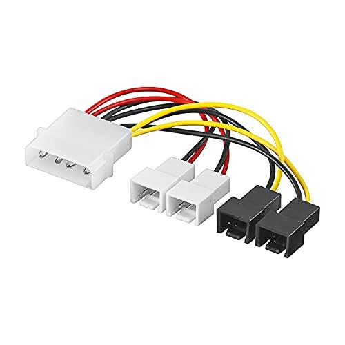 Goobay 93632 - Cable de alimentación / adaptador para ventilador de PC, conector de 5.25 pulgadas a ventilador 2 x 12 V / 2 x 5 V, 0.15 m