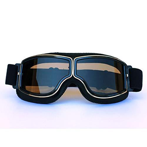 Yopria Fliegerbrille Herren, Motocross Brille Vintage Sonnenbrillen Damen MTB Brille im Freien Rennfahrer-Motorrad Flieger Pilot Stil Cruiser Steampunk Brillen Downhill Brille Schwarz