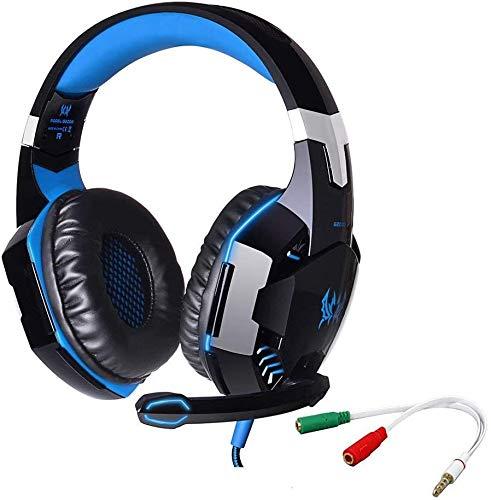 Senhai G2000 Gaming-Headset, Kopfhörer mit Mikrofon, 3,5-mm-Klinkenstecker, mit LED-Hintergrundbeleuchtung, Stereo-Bass, mit Störschallunterdrückung, für Computerspieler blau