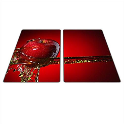 Lot de 2 protège plaques universels : pour plaques de cuisson en verre/céramique/à induction/gaz. Avec 4 pieds en silicone anti-rayures Couleurs vibrantes grce à la HD. Dimensions : 2 x 30 x 52 cm, Thème :Pomme, couleur : rouge.
