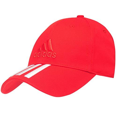 adidas Herren Performance 3-Streifen bestickt Baseball Golf Cap Einstellbare Sport Erwachsene Rot/Weiß