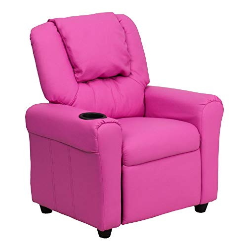 Flash Furniture Contemporary Hot Pink Vinyl Kids Recliner with Cup Holder and Headrest