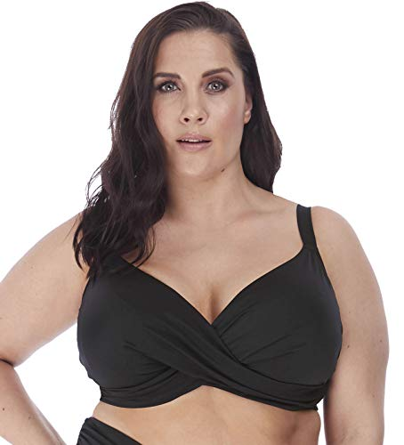 Elomi Plus Size Magnetic Wrap Underwire Bikini Top, 36GG, Black