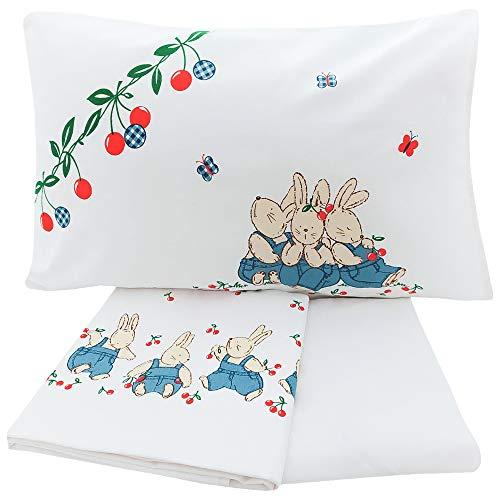 Juego de sábanas cuna, sábana encimera, sábana bajera y funda de almohada, 100% algodón, fabricado en Italia disegno 1