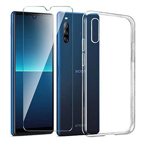LJSM Hülle für Sony Xperia L4 + Panzerglas Bildschirmschutzfolie Schutzfolie - Transparent Weich Silikon Schutzhülle Crystal Flexibel TPU Tasche Hülle für Sony Xperia L4 (6.2