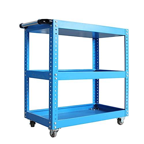 LiChaoWen Carritos de Servicio Carrito de Herramientas de Tres Capas de Acero Carrito de Herramientas móviles de múltiples Capas espesadas (Color : Azul, Size : 75x77x36cm)