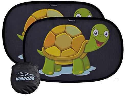 LUMACAR - Tendine parasole auto bambini - Parasole bambini accessori auto, Tessuto oscurante nero 80 gr/mq superiore alla media, 2 pezzi 50x30 cm, Protezione solare raggi UV, con 4 ventose