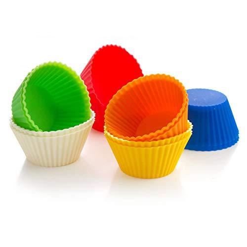 Drawihi Lot de 10 moules à muffins ronds en silicone - 7 cm - 8 couleurs