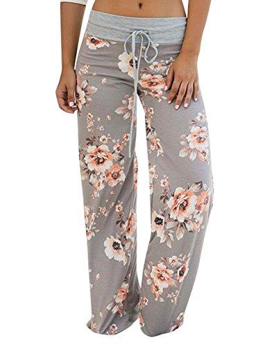 Assivia Womens Wide Leg High Waist Yoga Palazzo Pants Casual Printed Drawstring Trousers (L, Grey1)
