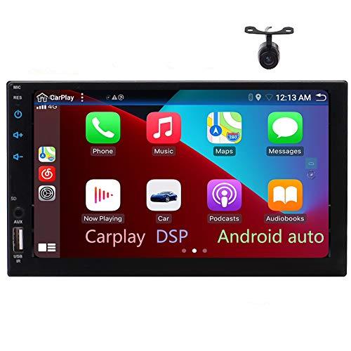 Doppio Din Autoradio Bluetooth Autoradio Carplay Android 10.0 Lettore DVD da 6,2 pollici Android Auto DSP HD Touchscreen In Dash Navigazione GPS AM/FM USB SD DVR DAB+ OBD 4K Video Microfono esterno