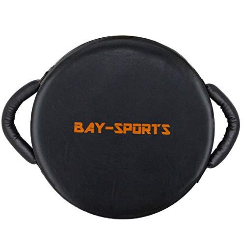 Bay UFO RUND 40 x 40 x 17 cm schwarz/orange Leder PU Schlagpolster, Schlagkissen, Pratze Pratzen Bodyshield Kickboxen Thaiboxen Muay Thai