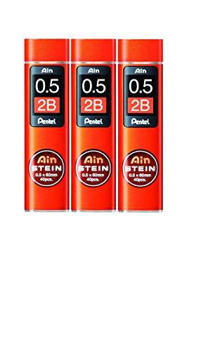 [3piezas.] Pentel portaminas Core de repuesto Ain Stein 0.5mm 2B 40leads × 3C275–2B de Japón