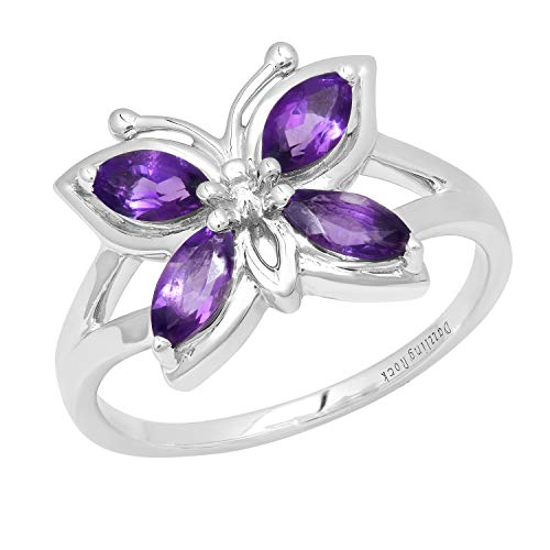 Dazzlingrock Collection 6X3 MM Marquise Amethyst Ladies Split Shank Right Hand Butterfly Ring, Sterling Silver, Size 7