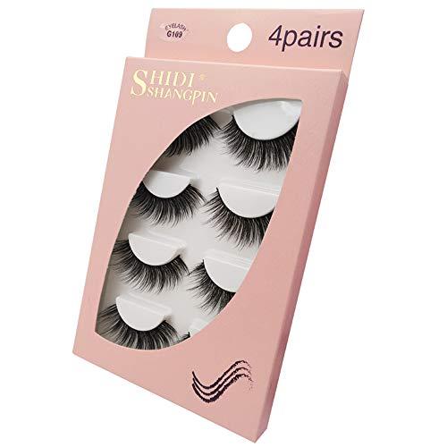 Faux Cils, 3D Faux Mink Cils épais Long Multilayer Fluffy Faux Cils pour Le Maquillage Extension de Cils, 4 Paires,G109
