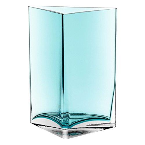 Leonardo Centro vaas driehoek, set van 2, bloemenvaas, glazen vaas, tafelvaas, decoratieve ovase, bloempot, glas, turquoise, 23 cm, 046951