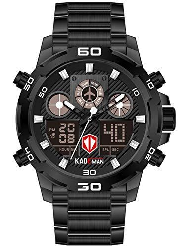 MLHXHX Herrenuhr Sport wasserdichte Multifunktionale Herrenuhr Dual Display Wecker Calendar Steel Band Watch Black