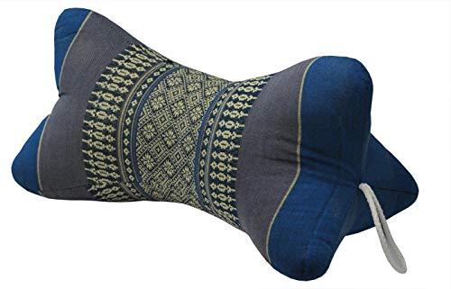 Fine Asianliving Thai Nackenkissen Nackenstütze 18x32cm Yoga Meditation Kapok Blau Meditation Matte Matratze Boden-Liege-Matte Sitzkissen 301-K03