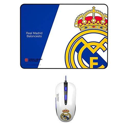 MARSGAMING Mars Gaming BLRM1, Pack Oficial Real Madrid Ratón Gaming y Alfombrilla 35x25cm