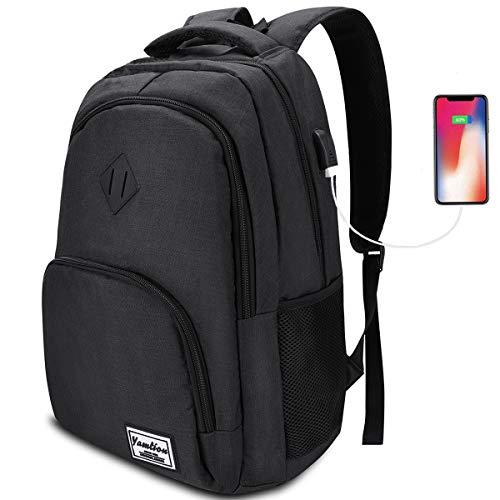 YAMITOM Premium Rucksack mit Laptopfach und USB Ladeanschluss - Business Herren Rucksack für Laptop 15,6 Zoll für Arbeit Studium Schule Wandern Camping und Reisen 35L