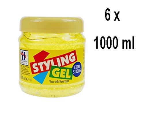 6 x Hegron Styling Gel - Extra Strong - Gel für alle Haartypen - 1000 ml
