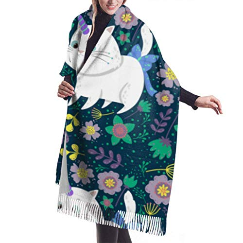 Bufanda de invierno unisex clásica de cachemir, lindo gato plantas de unicornio Bufandas cálidas largas y largas Abrigo chal estola