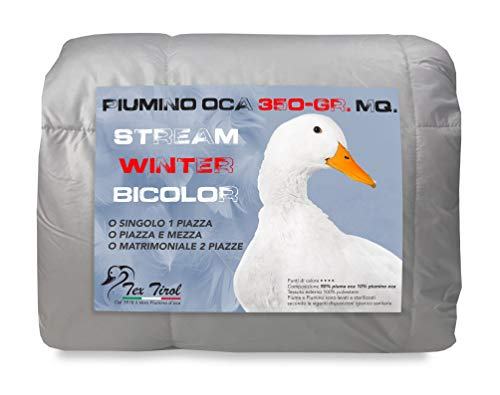 Tex family Piumino Oca Stream 350 GR. 90% Piuma Oca 10% Piumino Oca Bicolore - Singolo 1 Piazza CM. 155X200