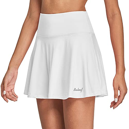 BALEAF Women's High Waisted Tennis Skirt Golf Active Sport Running Skorts Skirts Ball Pockets White M