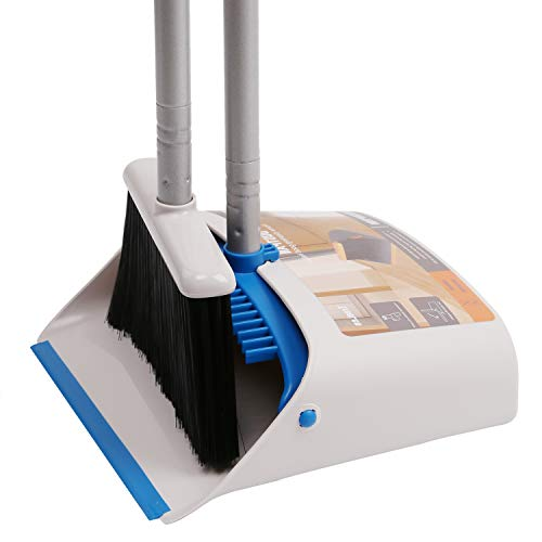 TreeLen Long Handle Broom and Dustpan Set,Upright Dust Pan Combo for Home,...