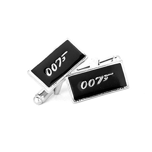 ***PREMIUM QUALITY***007 Cufflinks Black Color Silver Plated Novelty Classic James Bond 007 Pattern Movie Design Mens Quality Shirt Cufflinks